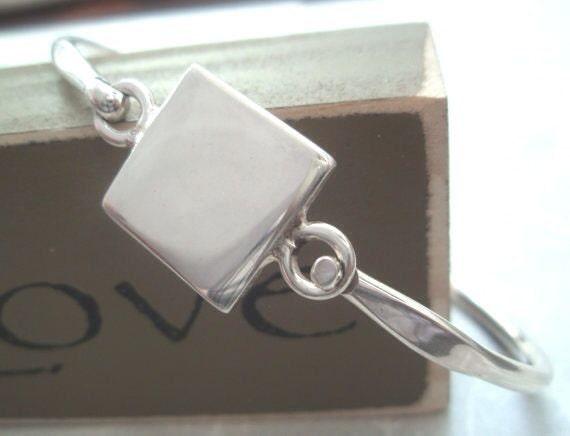 Sterling Silver Engravable Square Bangle Bracelet