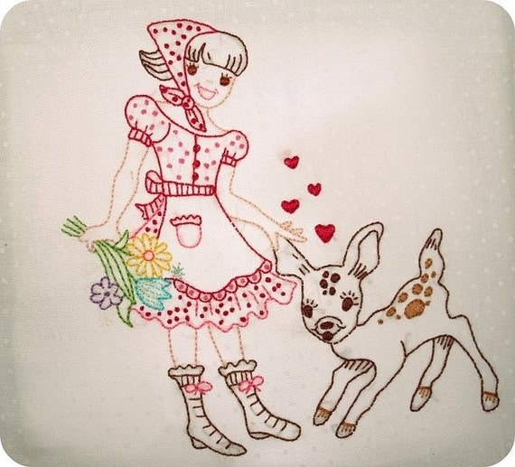 Folk Art Iron on Hand Embroidery Pattern (original design)