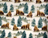 Warm Cozy Grizzly Bear Fleece Blanket Forest Green Brown Bears Rustic Cabin Throw Gift