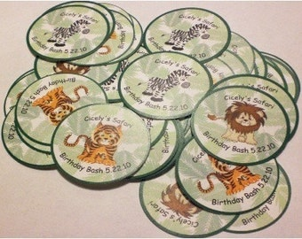 30 Safari Birthday Labels