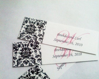 50 Wedding Damask Slim Hang Tags