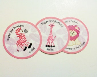 30 Pink Safari Birthday Labels