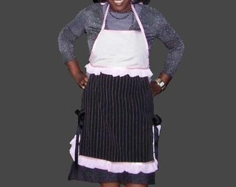 Pink and Black Fashion Full Apron