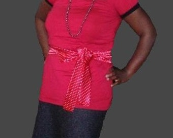 Ladies Red Polka Dot Fashion Sash