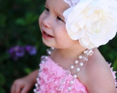 Large Off White OR Pink Flower Headband on Wide Lace Headband, Baby headband, Toddler Headband, ALL Sizes available... The Vienna