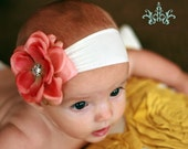 Fall Headband, Salmon Flower Headband, Thanksgiving, Baby Headband, Super Soft Nylon Headband, Terra Cotta Salmon