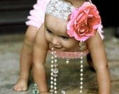 The Vienna Collection Salmon Hot Pink Rose on white or pink wide lace headband ALL sizes available Baby Infant Toddler Tween
