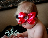 Perfect for Holidays ... Perfect Princess Satin Bow with Rhinestone Fashion Button Center   Many Colors Available