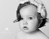 The Audrey Vintage Raw Silk Handmade Triple Rosette Headband  and French Tulle Baby Infant Toddler Girl Adult  MANY COLORS AVAILABLE