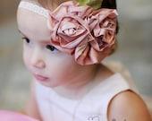 Flower Girl Headband, Headband, Pink Flower Headband, MANY Colors to choose from Pink, Blue, Orange, Purple, Green, Turquoise, Yellow