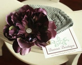 Deep Eggplant Detachable Beanie Flower Clip with Pave Rhinestone Center On Your choice beaniecolor All Sizes Available