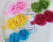 2 Pack...New Colors..Shabby Chic Flower Headband on Soft Stretch or Stretch Lace Headband...ALL Sizes, Blue, Black, Yellow, Pink, White