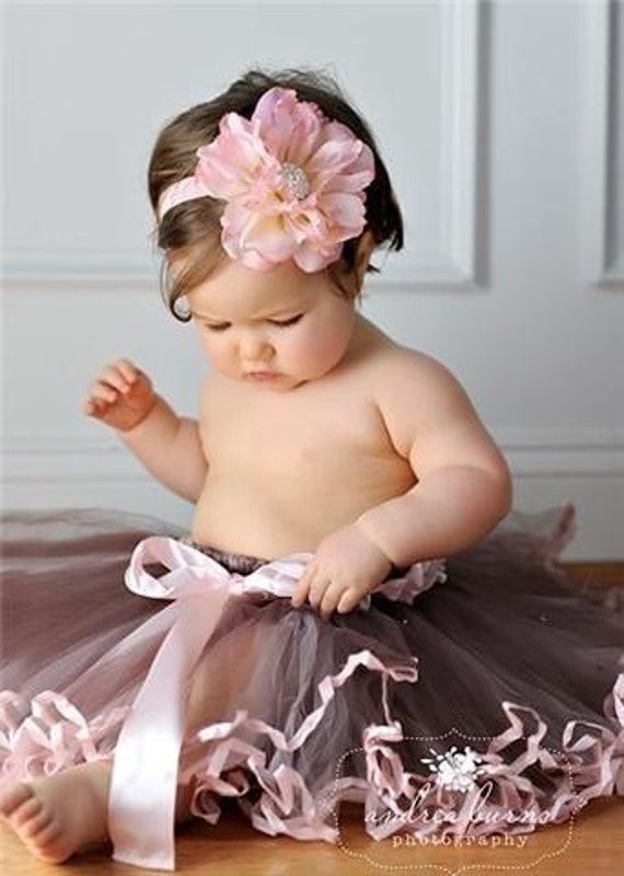 NEW COLOR...Market Pink and Cream Full Bloom Flower Headband with Extra Large Rhinestone Fashion center on Super Soft Thin Stretch Ballet Pink Headband  TWO sizes available Baby Infant Toddler Tween Adult