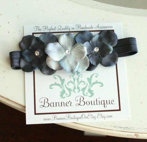 Grey Skies Dainty Grey Triple Flower Headband on Soft Stretch Nylon Ribbon with Swarvoski crystal centers