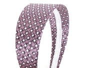 Wide Plum Headband - Plum Purple Satin w/ Dots and Sequins