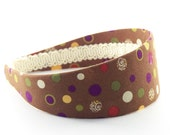 Wide Polka Dots Headband - Chocolate and Multi-Colored Dots