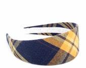 Wide Tartan Plaid Headband - Navy, Tangerine, Mustard and Brown