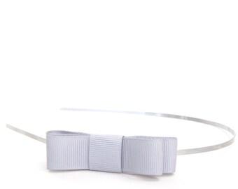Gray Bow Headband - Extra Skinny Metal Headband w/ Light Gray Bow - Simple bow headband for girls or adults