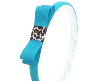 Skinny Teal Bow Headband and Leopard Accent - Preppy Bow Headband for Girls or Adults, Teal and Animal Print Bow Headband