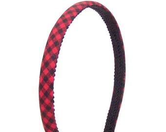 Skinny Plaid Headband - Bright Red and Black Checkered Tiny Buffalo Plaid - Holiday Headband - Autumn, Fall and Winter Headband