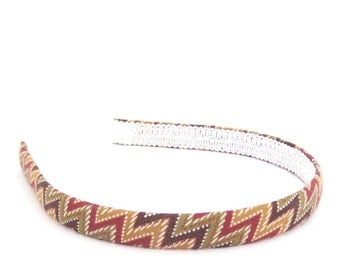 Chevron zig zags Headband - girl headband, adult headband - fall colors - chocolate, olive, mustard and cranberry - 1/2 inch width.