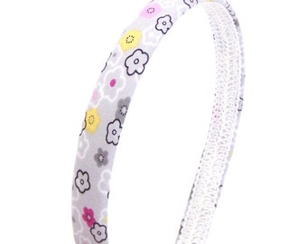 Whimsical Floral Headband - Narrow Headband in Gray, Pink and Yellow
