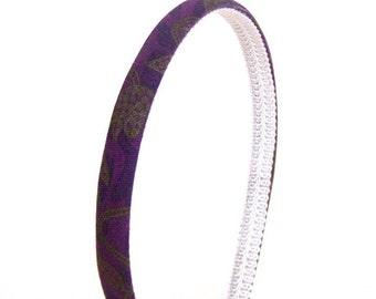 Skinny Floral Headband - Floral Vine Print in Deep Purple, Navy and Olive