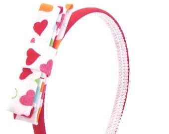 Skinny Red Headband with Glittery Hearts Bow - Valentine's Day