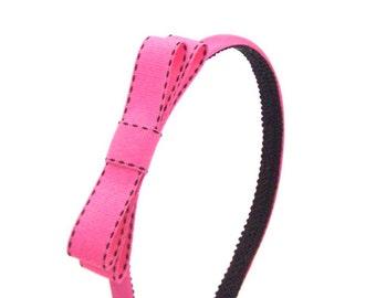 Fuchsia Pink Bow Headband - Skinny Headband Solid Fuchsia with Fuchsia Bow & Black Accents - Preppy Simple Bow Headbands