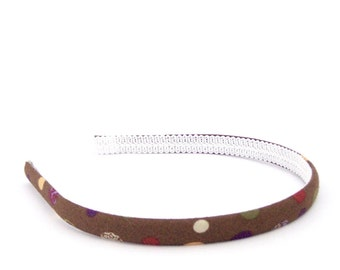 Chocolate Polka Dots Headband - Skinny with Multi-colored Dots