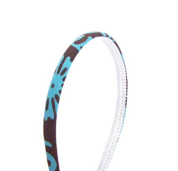 Skinny Floral Headband - Chocolate Brown and Turquoise Abstract Floral