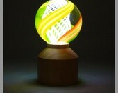 Hand turned Marble Holder..or.. stand--with a display light-- ))) Maple Wood (((