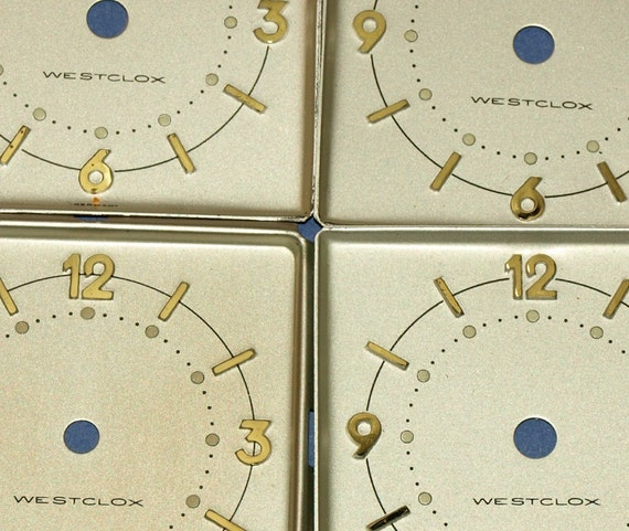 4 Vintage matching New Old Stock clock dials ))) 12-003-5