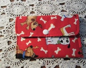 Mini Wallet  Red Dogs  with Bones Business Card Holder