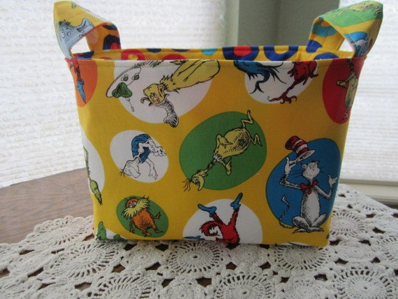 Reversible Organizer Fabric Dr Seuss The Cat In The Hat Yellow Basket Bin Storage
