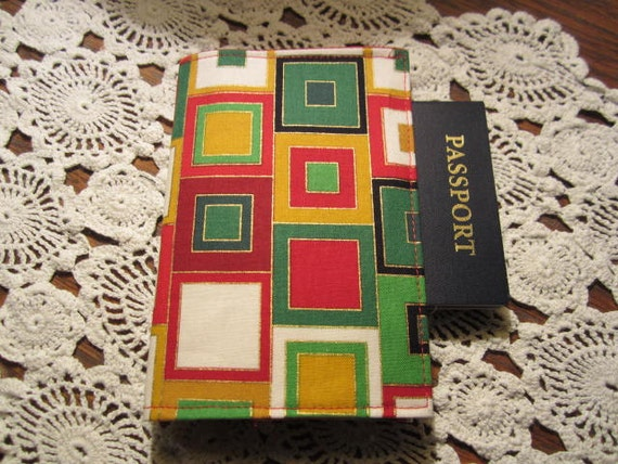Passport Cover -  Red Green Squares Holder