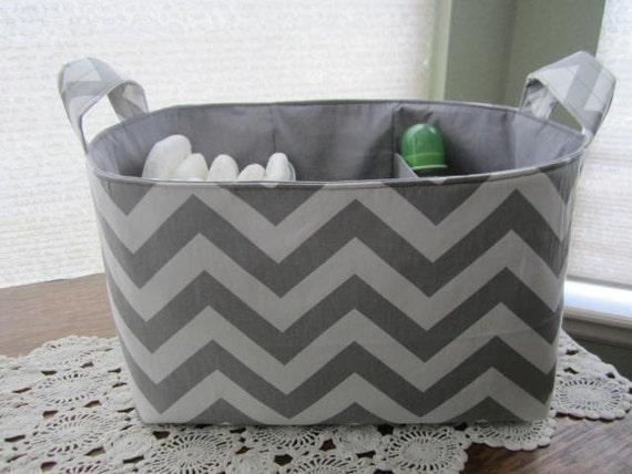 Diaper Caddy Organizer Ash Gray Chevron Zig Zag Storage basket