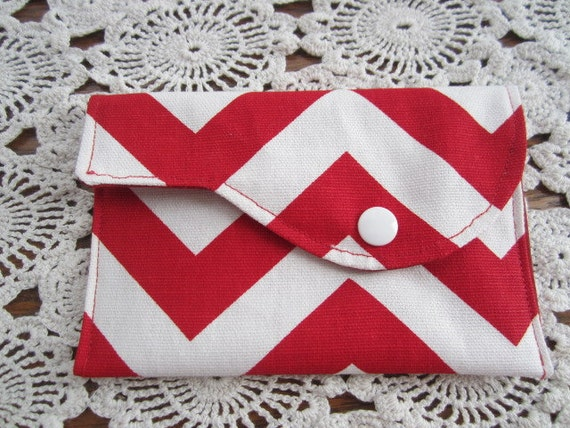 Mini Wallet Chevron Red and White  Zig Zag Business Card holder