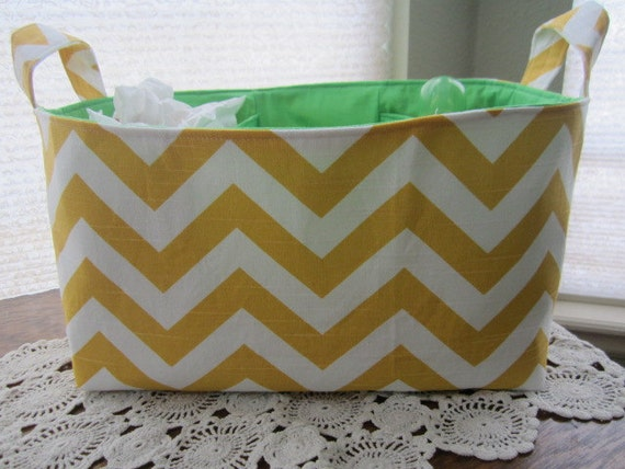 Diaper Caddy Organizer Chevron Yellow and White Zig Zag  with lime green lining Storage basket