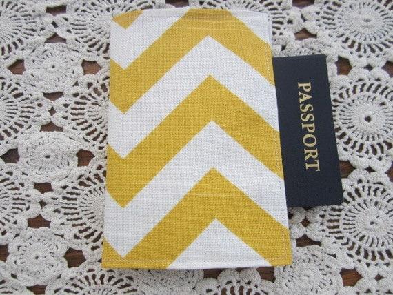 Passport Cover -  Chevron Yellow and White  Zig Zag  Holder