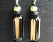 Bamboo, Bone and Glass Earrings