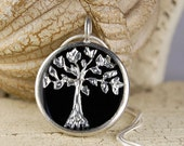 Silver Tree Necklace- Hand Painted Metal and Resin Pendant Necklace with Silver Plated Chain