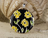 CLEARANCE- Yellow Flower Necklace- Handpainted Daisies, Embossed Metal and  Resin Necklace with Silver Plated Chain