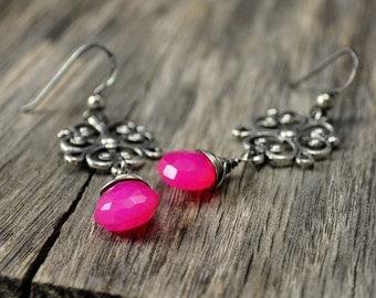 Hot Pink Chalcedony Filigree Silver Earrings