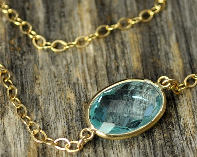 Sparkly Aquamarine Quartz Gold Necklace