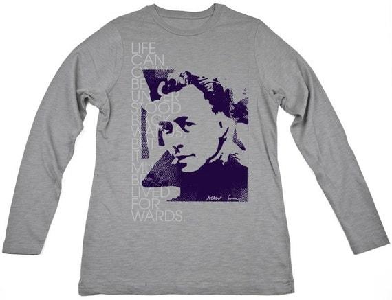 Albert Camus Lives, 100 Percent Cotton Long Sleeve T-shirt, mens XL
