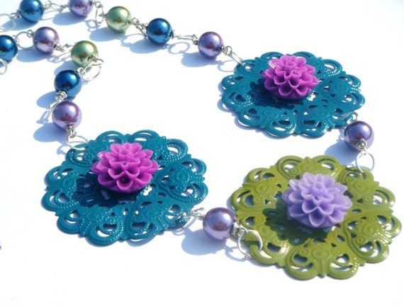 Flowers and Pearls Statement  Necklace Set..necklace ,earrings, sage green, peacock blue,