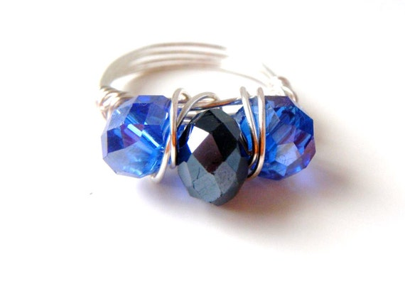 reserved for shawna              Sapphire Blue and Black Wire Wrapped Ring,