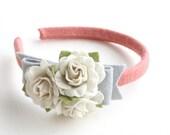 felt flower headband- ginger and grey rose bunch