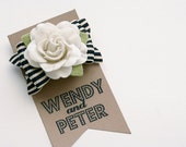 black striped bow and felt flower hair clip- black and cream